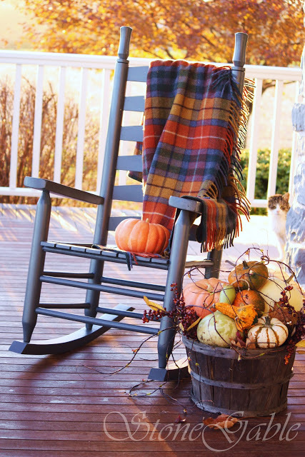 Front Porch With Fall Decor, Wooden Rocking Chair With Fall Throw And Pumpkins