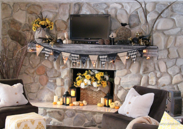 Mantel Decor With Garland Pumpkins, Candles And Flowers