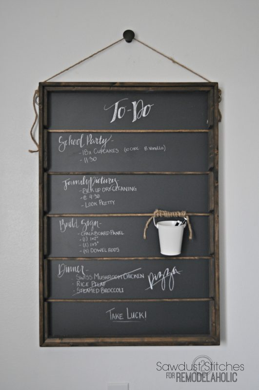Wall Mount Chalkboard Organizer With Hanging Chalk Bucket