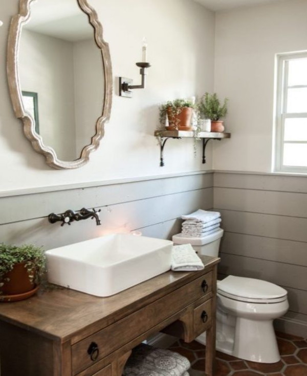 White And Grey Bathroom With Shiplap Bottom, Wood Vanity