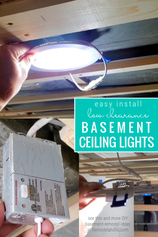 Easy Install Low Clearance Ceiling Lights For A 1970's Basement Remodel #remodelaholic
