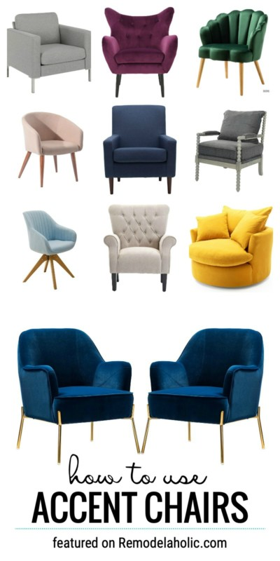 Learn How To Use Accent Chairs In Your Home Decor From The Bedroom To The Office To The Living Room, They Work In So Many Ways. Find The Accent Chairs And Tips At Remodelaholic.com