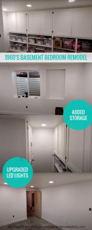 Az 1960-as évek alagsori hálószobájának átalakítása új LED-es lámpákkal, beépített tárolóval #remodelaholic