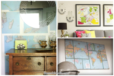 DIY Wall Decor Ideas Using Vintage Maps From Remodelaholic
