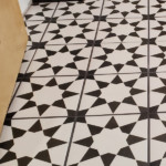 Affordable Ceramic Star Pattern Tile With Black Grout, Basement Storage Room Remodel, Remodelaholic