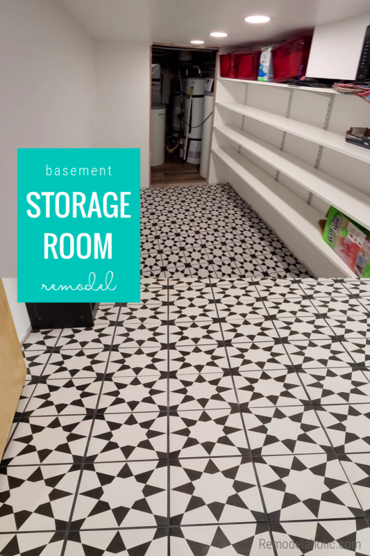 Basement Storage Room Remodel With Affordable Ceramic Star Tile Flooring And Track Shelving Storage, Remodelaholic
