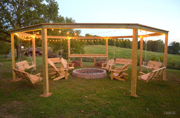 Remodelaholic Tutorial Build An Amazing Diy Fire Pit Pergola For Swings