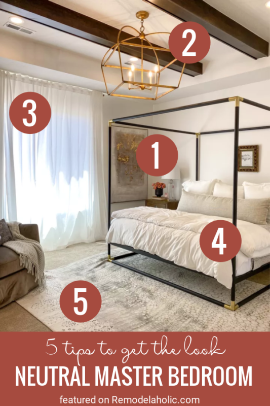 5 Tips For Recreating This Room. Neutral Master Bedroom Get The Look At Remodelaholic.com
