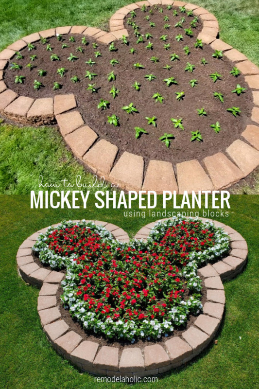 Diy Disney Mickey Planter With Flowers Using Landscaping Blocks, Remodelaholic