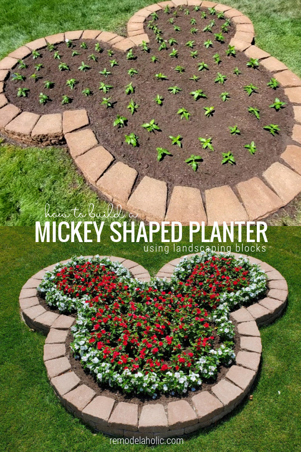 Diy Disney Mickey Planter With Flowers Using Landscaping Blocks, Remodelaholic