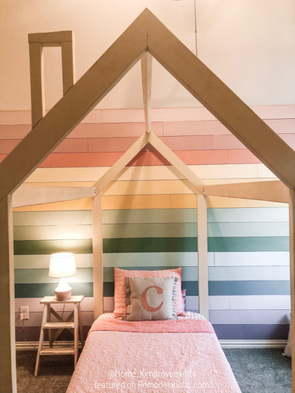 Diy House Bed Frame With Colorful Painted Rainbow Shiplap Accent Wall, Home Kimprovements For Remodelaholic
