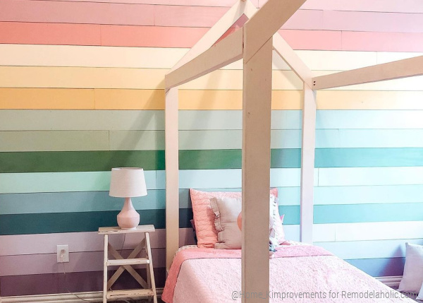 Diy Painted Ombre Rainbow Shiplap Accent Wall In A Girl's Room With A Twin House Bed, @home Kimprovements On Remodelaholic