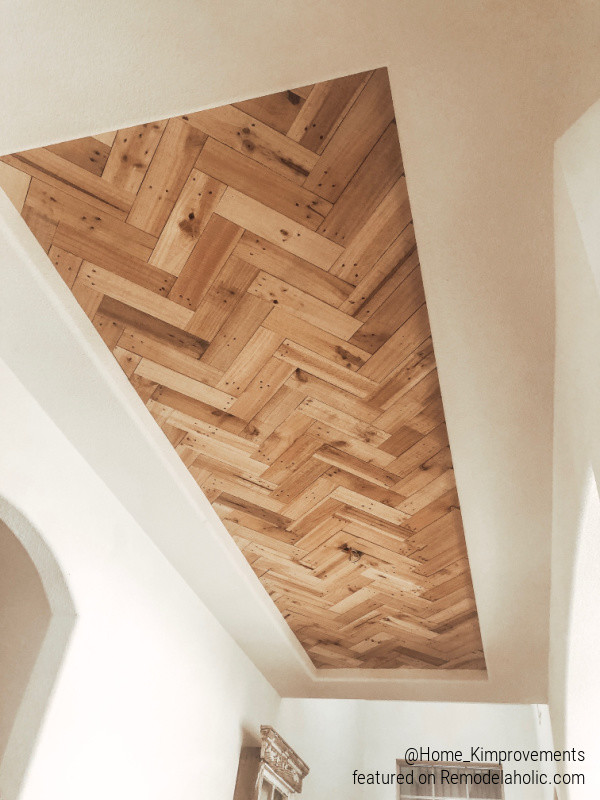 Diy Tray Ceiling Idea, Chevron Herringbone DIY Wood Ceiling Inset Accent, Home Kimprovements On Remodelaholic