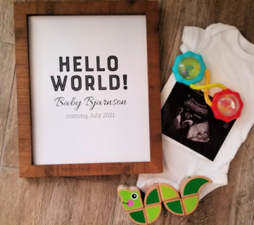 Hello World Printable Pregnancy Announcement PDF Instant Download #remodelaholic