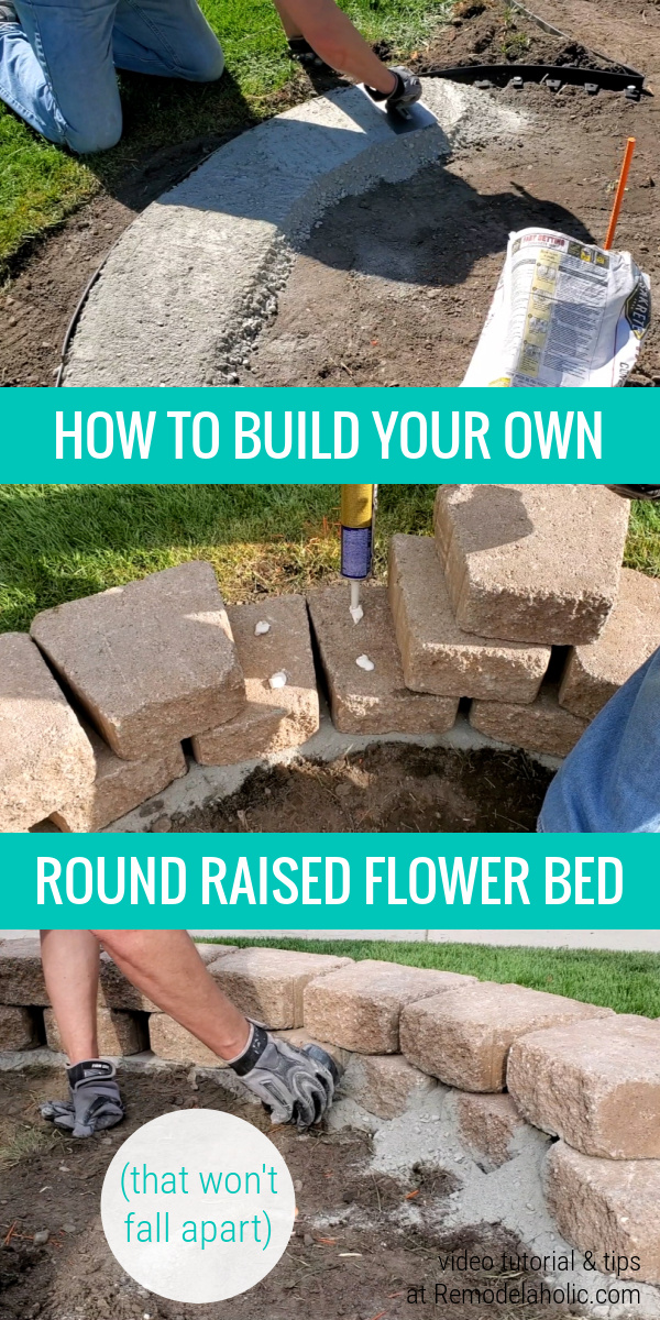 How To Build A Strong Raised Round Flower Bed From Landscaping Blocks, Remodelaholic