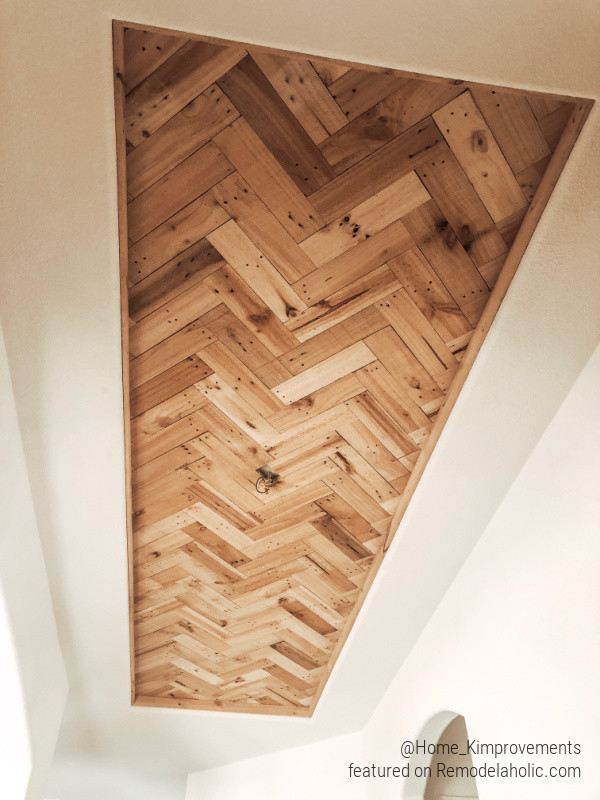 How To Install A DIY Wood Ceiling Accent In A Tray Ceiling Farmhouse Entryway, Home Kimprovements On Remodelaholic