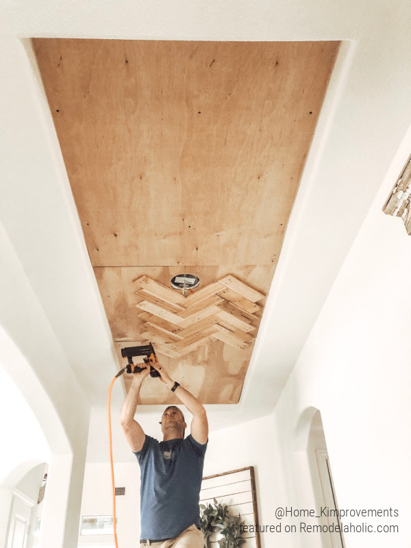 Install A DIY Pallet Wood Ceiling Herringbone Pattern To Update A Tray Ceiling, Home Kimprovements On Remodelaholic