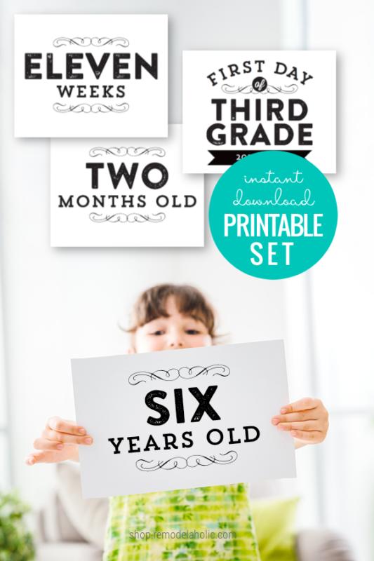 Instant Download Printable Milestone Card Set For Pregnancy, Baby, Kids #remodelaholic
