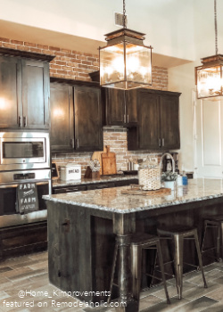 Modern Farmhouse Black Kitchen With Brick Backsplash Wall, Home Kimprovements On Remodelaholic