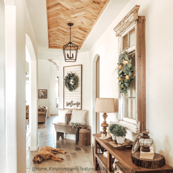 Modern Farmhouse Entry With DIY Pallet Wood Ceiling For Inset Tray Ceiling, Home Kimprovements On Remodelaholic (1)
