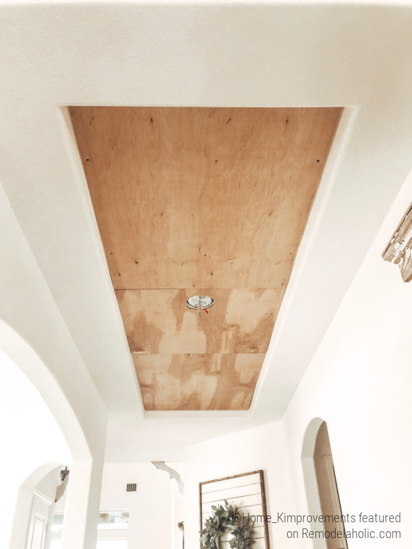 Plywood Backing, How To Update A Tray Ceiling Inset With Rustic Wood Pattern, Home Kimprovements On Remodelaholic