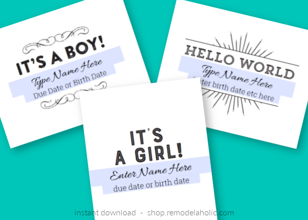Pregnancy Announcement Gender Reveal Baby Announcement Printable, Instant Download Remodelaholic