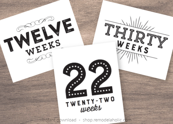 Printable Pregnancy Announcement And Milestone Cards, 3 Styles, Instant Download Remodelaholic