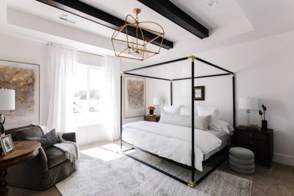 Elegant Neutral Master Bedroom Ideas via UVPH 2020 Arive Homes Photo by Rebekah Westover