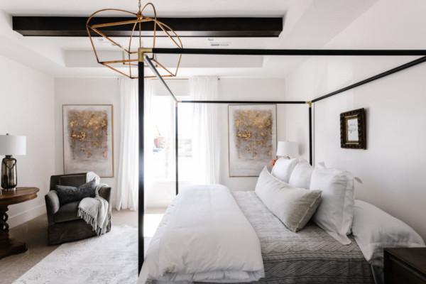 Beautiful master bedroom idea via UVPH 2020 Arive Homes Photo by Rebekah Westover