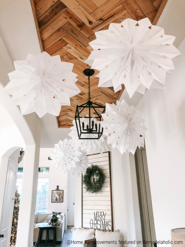 White Paper Bag Snowflakes Hung From Entryway Ceiling, Pallet Wood Ceiling For Inset Tray Ceiling, Home Kimprovements On Remodelaholic