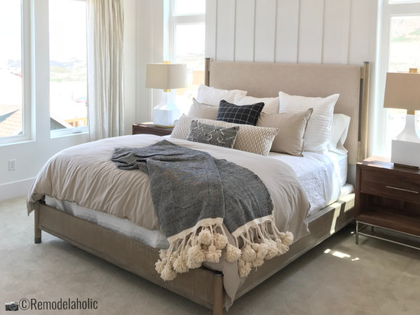 Dreamy white bedroom idea with tips to get the look of this room. SLPH 2018 Home 13 Magleby Communties, photo by Remodelaholic