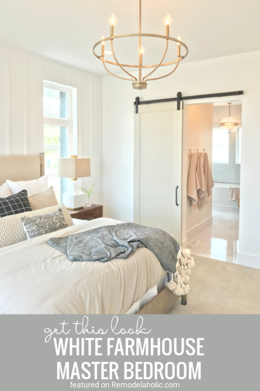 Tips For Creating A Beautiful Bright White Farmhouse Master Bedroom Featured On Remodelaholic.com