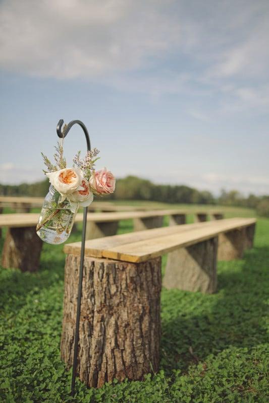 Diy Tree Stump Bench Wedding Seating, Stylemepretty