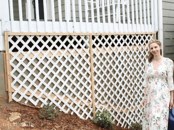 Finished DIY Climbing Rose Trellis To Cover An Exterior Concrete Foundation Wall, Top Shelf DIY On Remodelaholic