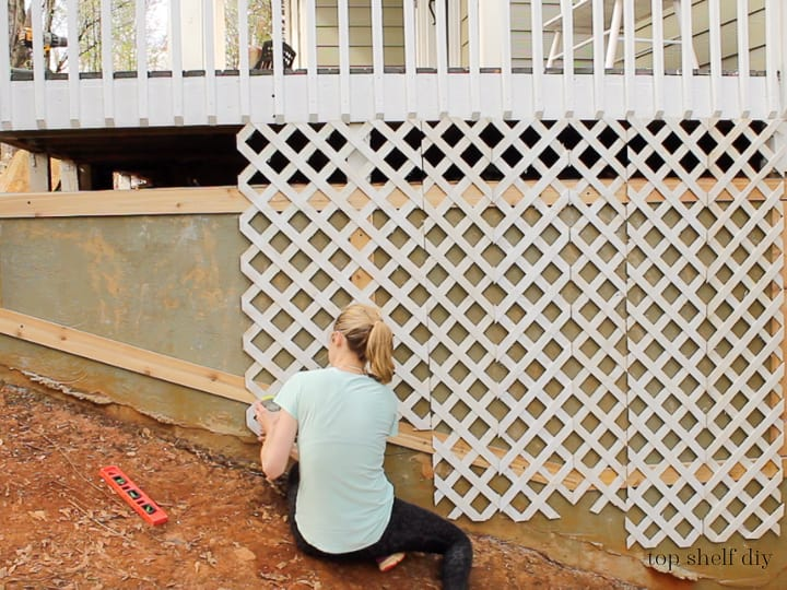 How To Install Lattice Trellis For Flowers To Cover Exterior Concrete Wall Porch Foundation, Top Shelf DIY On Remodelaholic