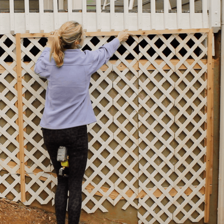 Install Trim For DIY Climbing Rose Trellis On Concrete Foundation Wall, Top Shelf DIY On Remodelaholic
