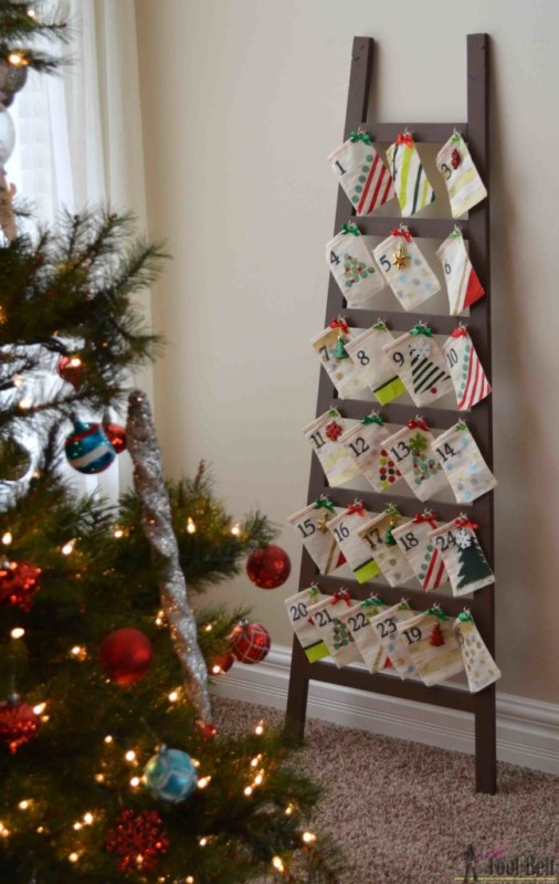 Ladder Decor Ideas Christmas Advent Calendar Ladder HerToolbelt