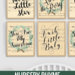 Nursery Rhyme Vintage Sheet Music Art Printable Handlettered Watercolor Remodelaholic