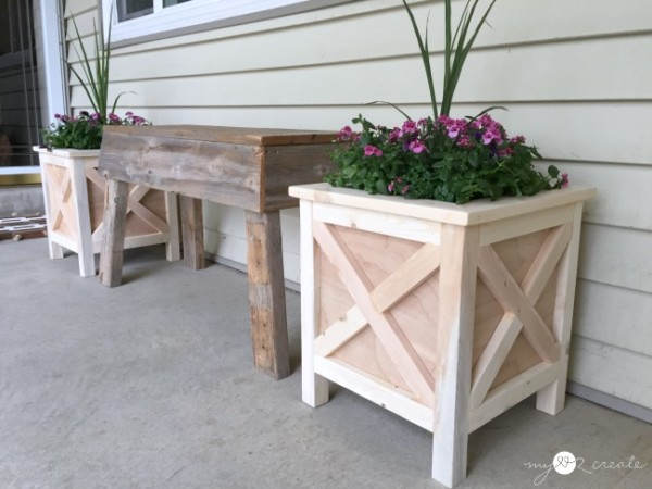 Outdoor Planter Idea, Square X Wood Planter MyLove2Create