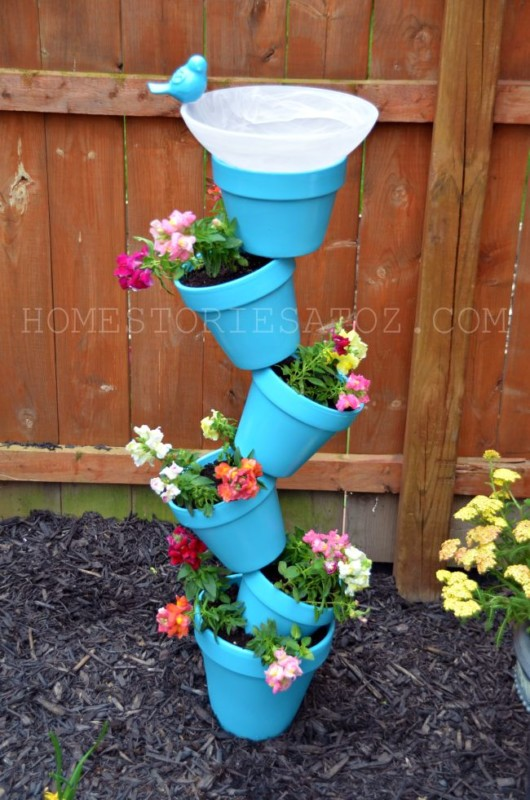 Outdoor Planter Idea, Stacked Flower Pots And Bird Bath Home Stories A To Z