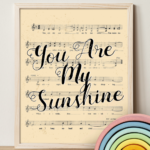 Printable Vintage Sheet Music Art Nursery Rhyme You Are My Sunshine Song Remodelaholic