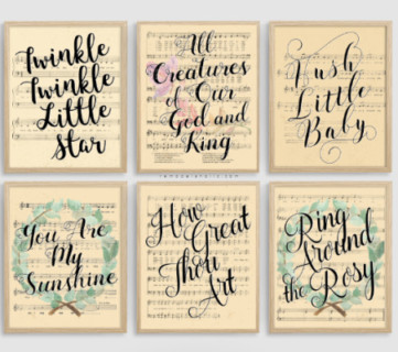 Printable Vintage Sheet Music Art Sets, Easter Hymns And Nursery Rhymes, Remodelaholic
