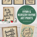 Printable Vintage Sheet Music Art, Watercolor Hymn Prints Handlettered Nursery Rhyme Song Lyrics, Remodelaholic