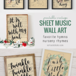 Printable Vintage Sheet Music Wall Art, Easter Hymn Lyrics Nursery Rhymes, Remodelaholic