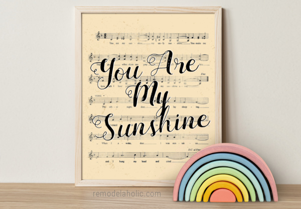 You Are My Sunshine Song Lyric Nursery Rhyme Vintage Sheet Music Art, Remodelaholic