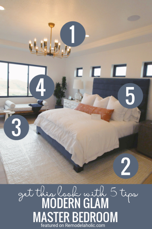 5 Tips For Creating A Beautiful Modern Glam Master Bedroom Featured On Remodelaholic.com