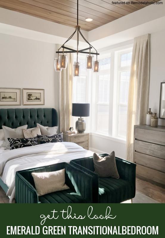 Adjon hozzá egy kis színt smaragdzölddel ebben a csodálatos átmeneti hálószobában, amely a Remodelaholic.com webhelyen található (1).