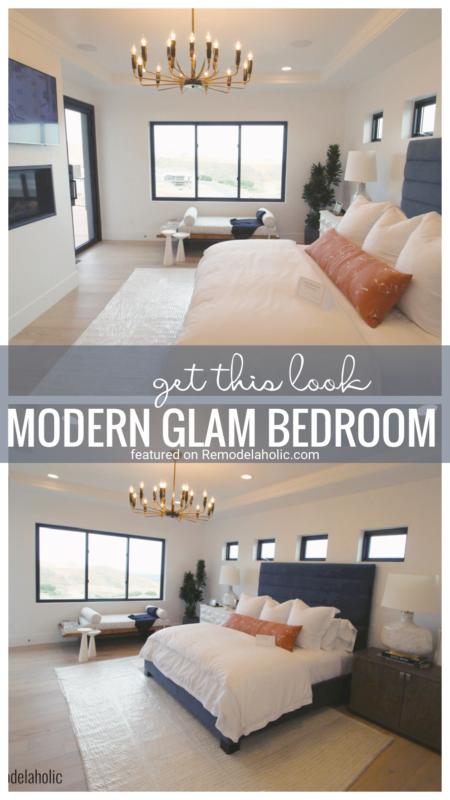 Add A Touch Of Glam With Gold And Pretty White With This Lovely Master Bedroom Inspiration. Get This Look, Modern Glam Bedroom Featured On Remodelaholic.com