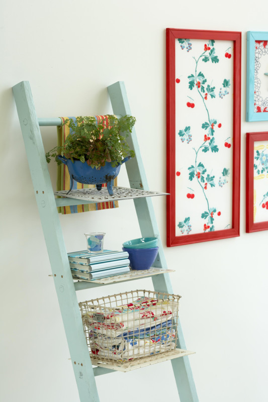 DIY Ladder Storage, Vintage Ladder With Baskets And Storage Shelves, BHG By Cameron Sadeghpour Photo