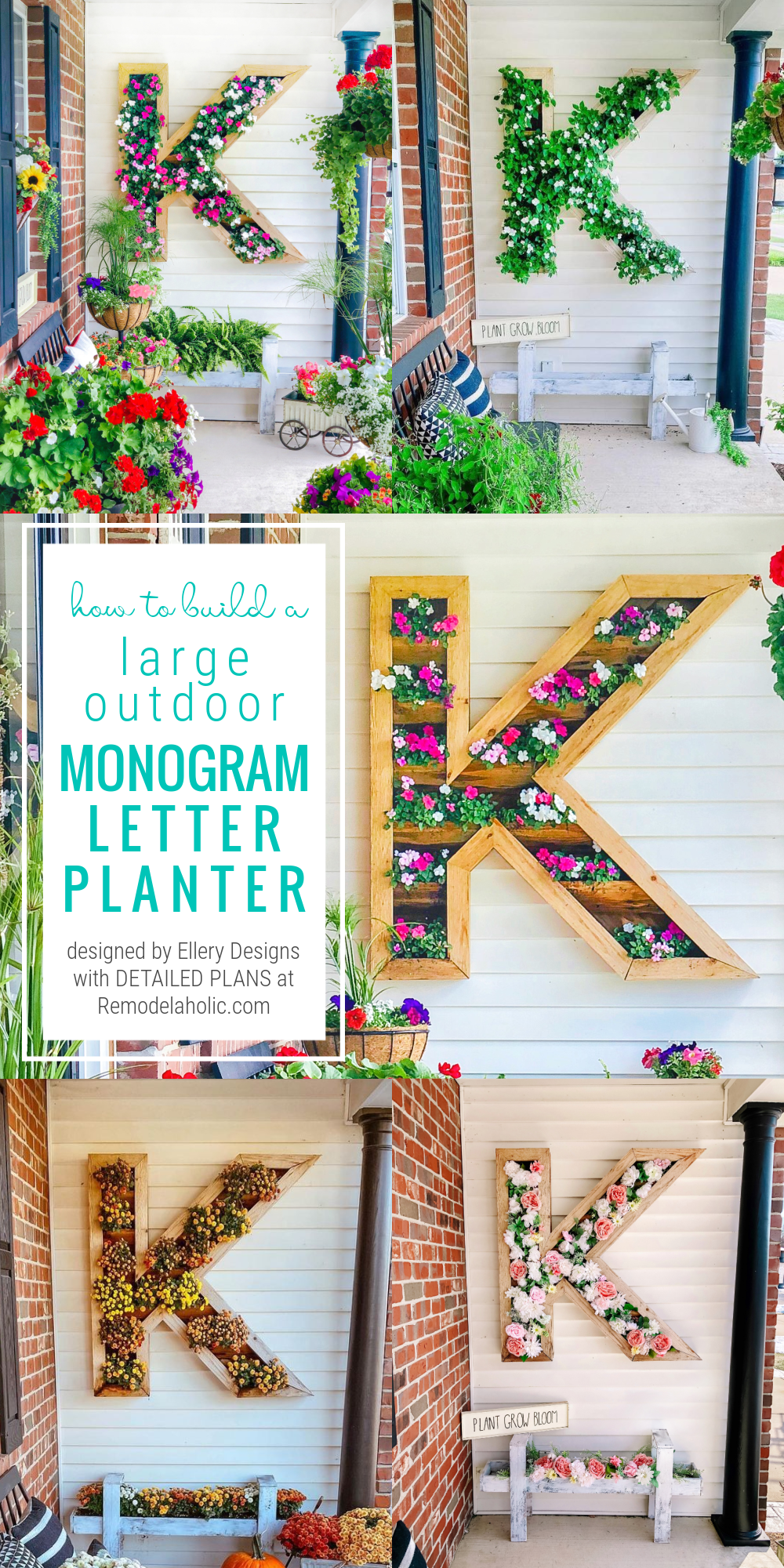DIY Large Outdoor Wood Monogram Letter Planter, Ellery Designs And Remodelaholic